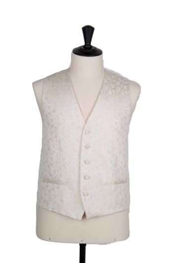 Floral antique ivory grooms waistcoat