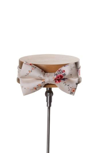 Tea rose antique ivory vintage floral wedding bow tie