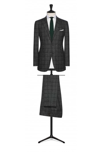army green-white faux uni wool-silk with green windowpane wedding suit