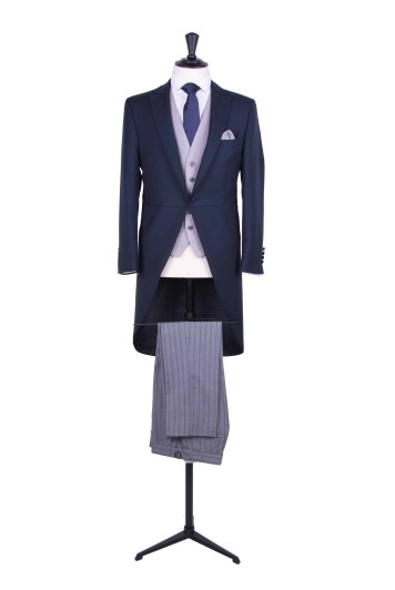 Slim fit navy wedding hire suit