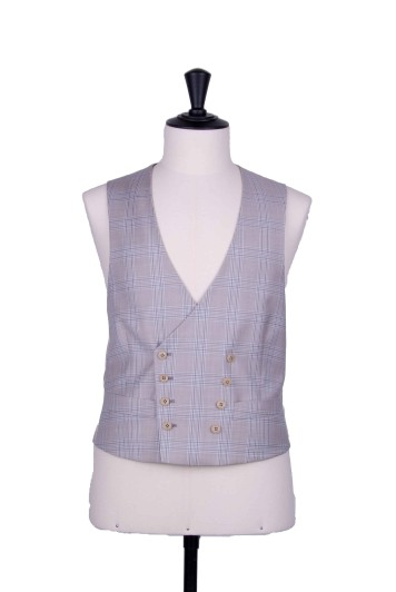Beige check double breasted waistcoat made to measure groom waistcoat