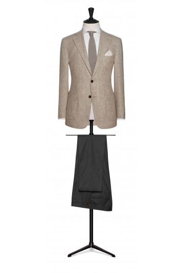 beige mouliné glencheck grooms wedding jacket