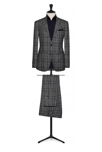 black-white wool windowpane with dark blue detail.