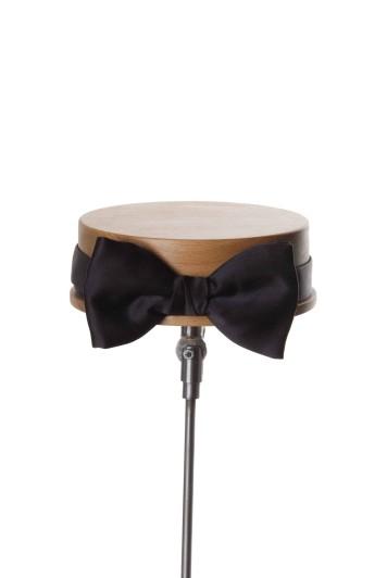 Black satin wedding bow tie