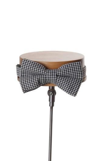 dogtooth black wedding bow tie