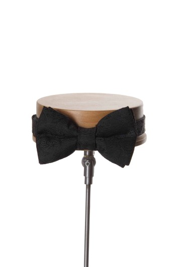 Paisley black Grooms wedding bow tie