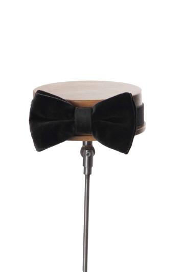 Black velvet GRooms wedding bow tie