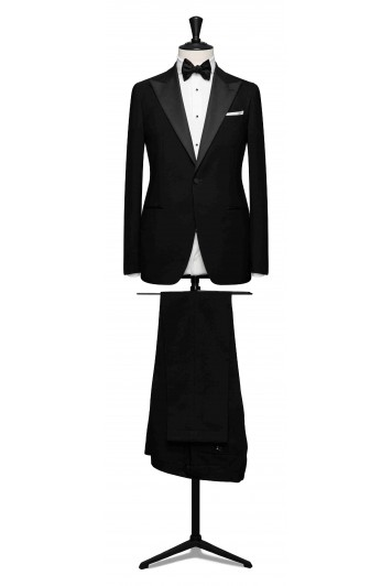 grooms black twill washed wool evening wedding suit