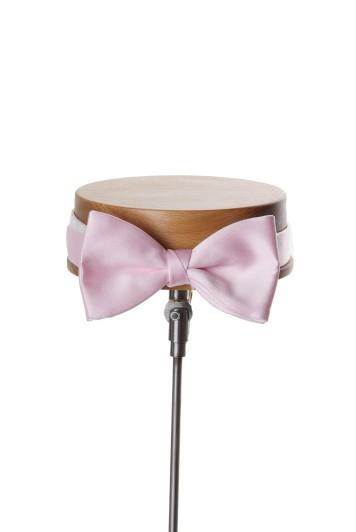 Pink satin wedding bow tie