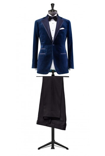 Blue velvet dinner suit made to measure