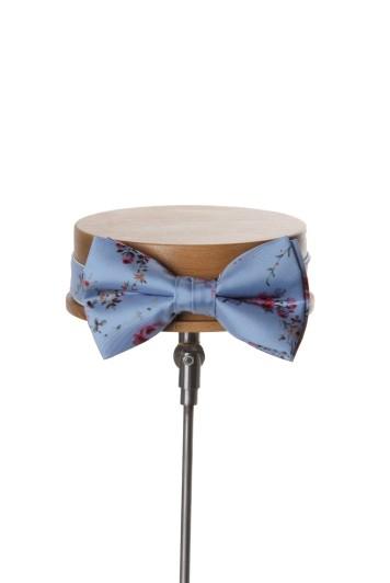 Tea rose blue vintage floral wedding bow tie