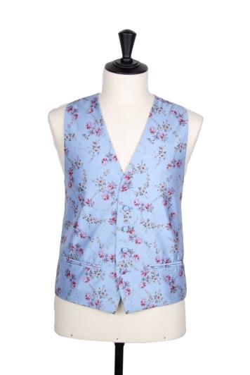 Floral blue groom wedding waistcoat