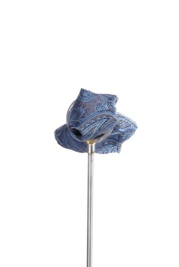 Blue Italian paisley wedding pocket square