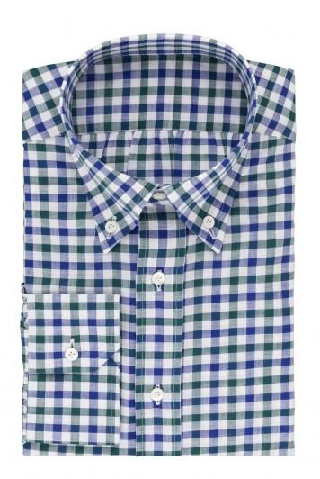 grooms green& blue gingham check wedding shirt