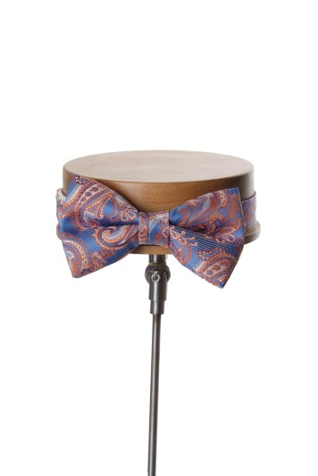 Come together blue with orange paisley wedding bow tie