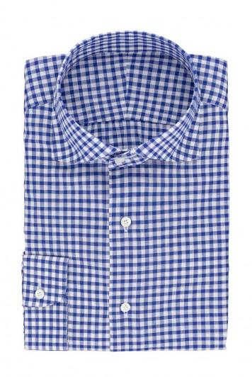 grooms blue gingham check wedding shirt
