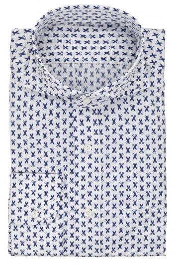 grooms white and blue scissor wedding shirt