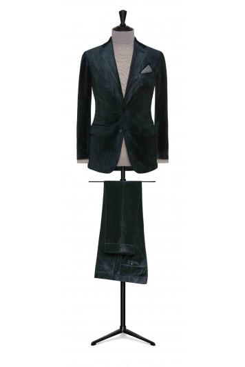 grooms bottle green cotton-silk corduroy wedding suit