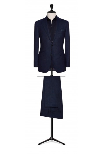 bright blue-midnight blue fine check wedding suit