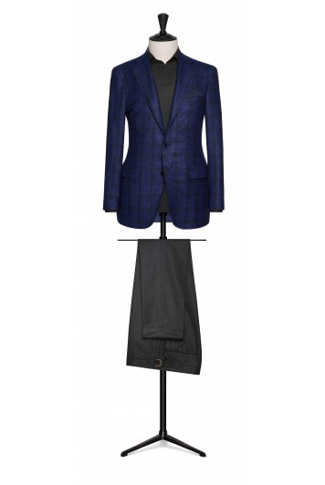 bright blue-midnight blue wool-silk-cashmere with midnight blue windowpane grooms wedding jacket