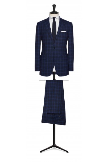 midnight blue check wedding suit