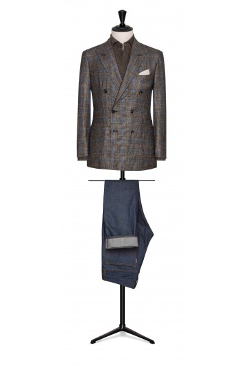 brown-beige wool-silk-cashmere with blue windowpane wedding jacket