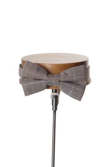 Prince of Wales brown Grooms wedding bow tie