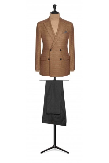 brown houndstooth with baby camel hair wedding sports jacket