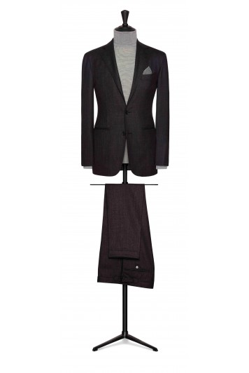 burgundy-blue faux uni wool-silk wedding suit