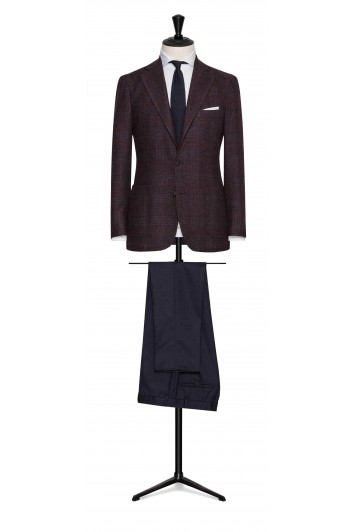 burgundy-dark blue bouclé glencheck wedding jacket