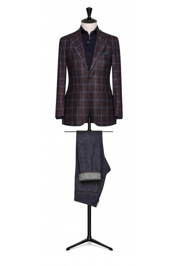 burgundy-midnight blue wool-silk-cashmere with blue windowpane wedding jacket
