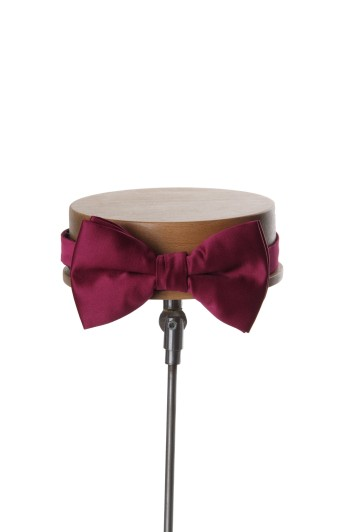 Burgundy satin wedding bow tie