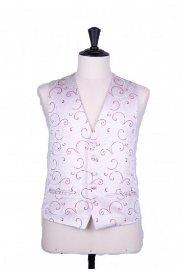 Burgundy swirl wedding waistcoat