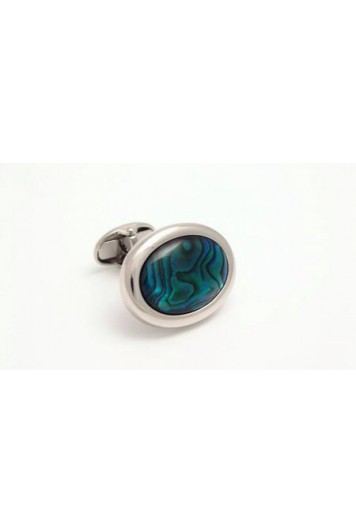 Blue alabone oval cufflinks