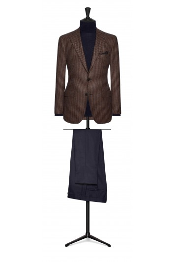 camel-dark blue houndstooth with baby camel hair wedding suit