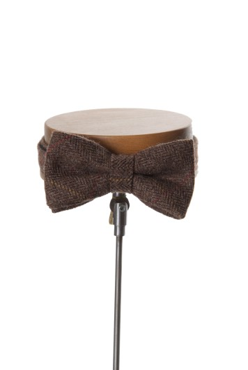English tweed coffee check wedding bow tie