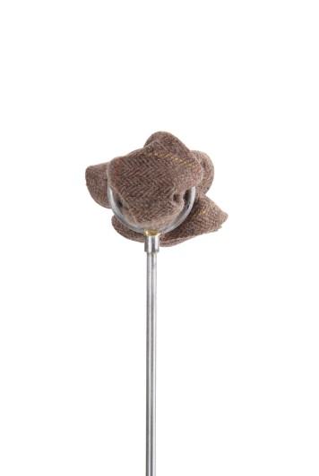 Tweed brown check Grooms wedding pocket square