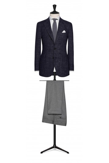 dark blue-black mouliné glencheck grooms wedding jacket