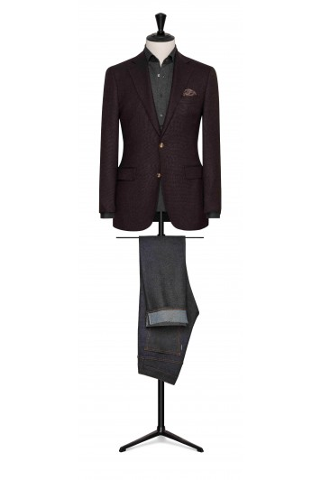 dark brown-black faux uni wool wedding jacket