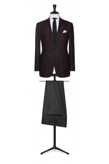 dark brown sharkskin with blue windowpane wedding jacket