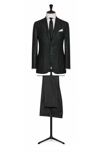 dark green wool glencheck grooms wedding jacket