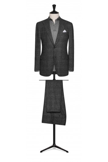 grey-black wool-silk glencheck wedding suit