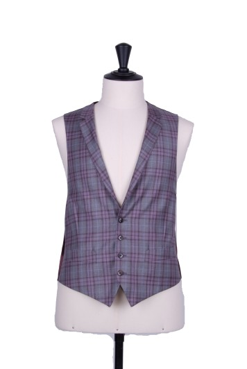 Grey & burgundy collared waistcoat made to measure