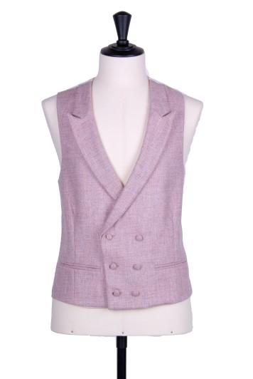 Tweed pink Grooms wedding waistcoat DB