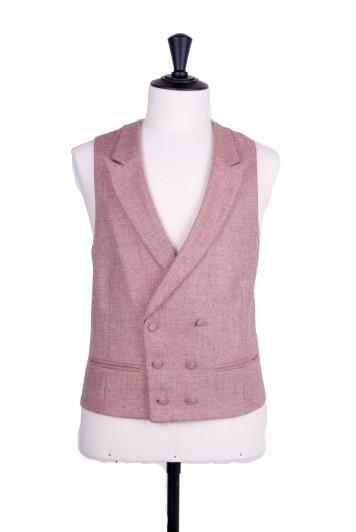 Tweed peach Grooms wedding waistcoat DB