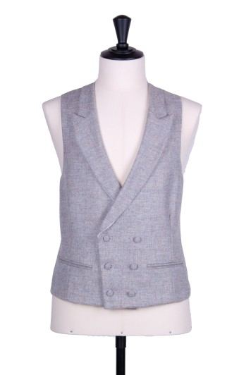 Tweed light grey Grooms wedding waistcoat DB