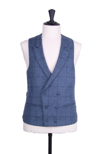 Tweed dark blue navy check Grooms wedding waistcoat DB
