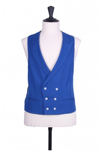 Ascot DB electric blue Grooms wedding waistcoat