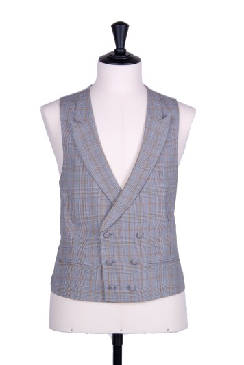 Prince of Wales double breasted gold wedding waistcoat