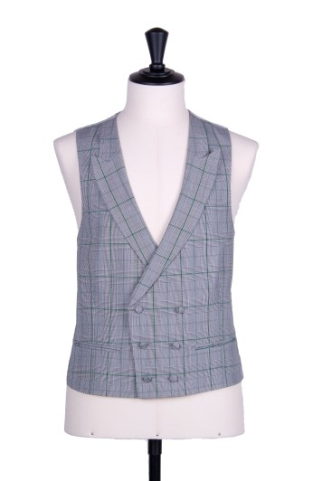 Prince of Wales double breasted green wedding waistcoat